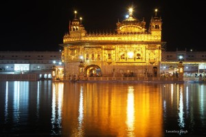 golden temple night closeup